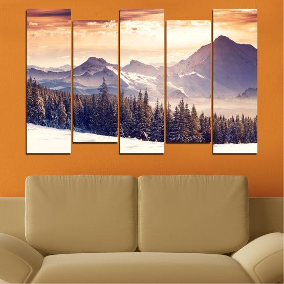 Декоративни панели и картини от канава - от 5 части №0145 » Сив, Бял, Бежов, Тъмно сив » Пейзаж, Планина, Гора, Сняг, Зима Form #3