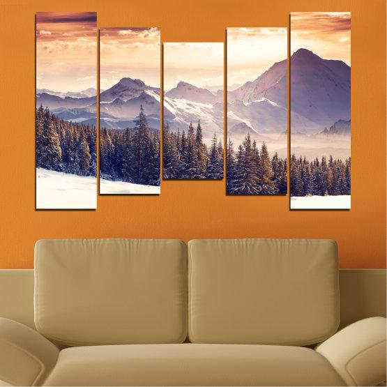 Декоративни панели и картини от канава - от 5 части №0145 » Сив, Бял, Бежов, Тъмно сив » Пейзаж, Планина, Гора, Сняг, Зима Form #4
