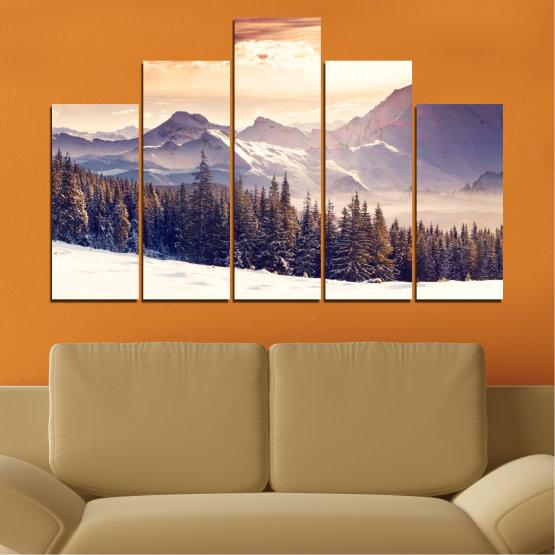 Декоративни панели и картини от канава - от 5 части №0145 » Сив, Бял, Бежов, Тъмно сив » Пейзаж, Планина, Гора, Сняг, Зима Form #5