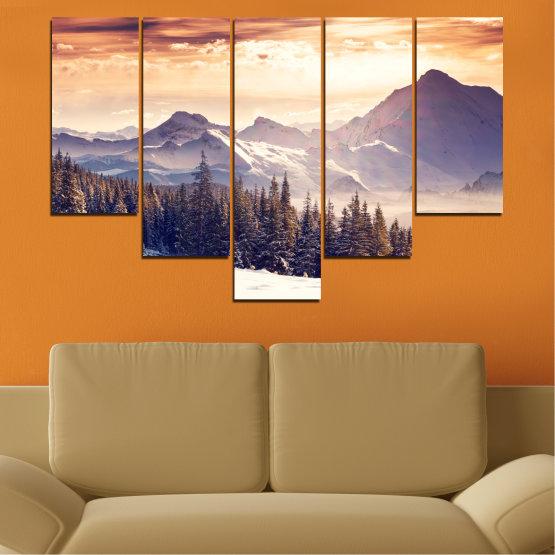 Декоративни панели и картини от канава - от 5 части №0145 » Сив, Бял, Бежов, Тъмно сив » Пейзаж, Планина, Гора, Сняг, Зима Form #6