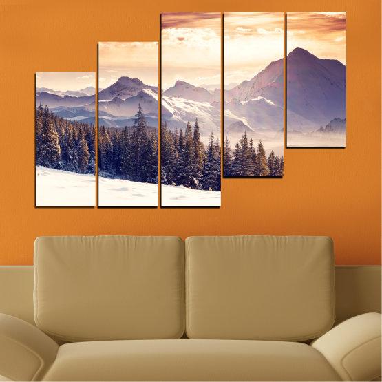 Декоративни панели и картини от канава - от 5 части №0145 » Сив, Бял, Бежов, Тъмно сив » Пейзаж, Планина, Гора, Сняг, Зима Form #8