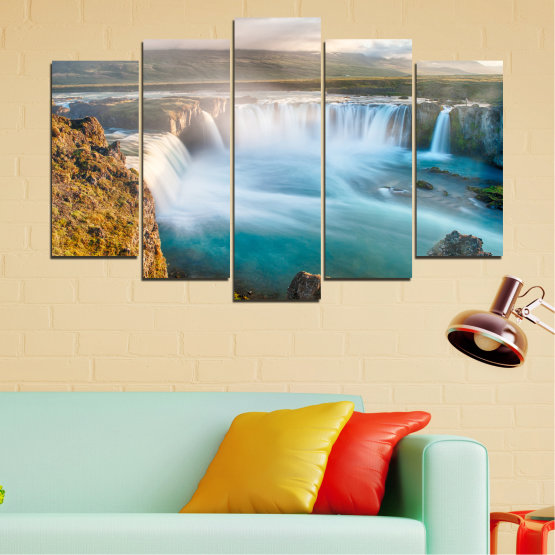 Canvas prints & wall decorative panels - 5 pieces №0147 » Gray, White, Dark grey » Nature, Waterfall, Water, Freshness Form #1