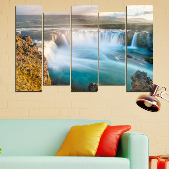 Canvas prints & wall decorative panels - 5 pieces №0147 » Gray, White, Dark grey » Nature, Waterfall, Water, Freshness Form #3