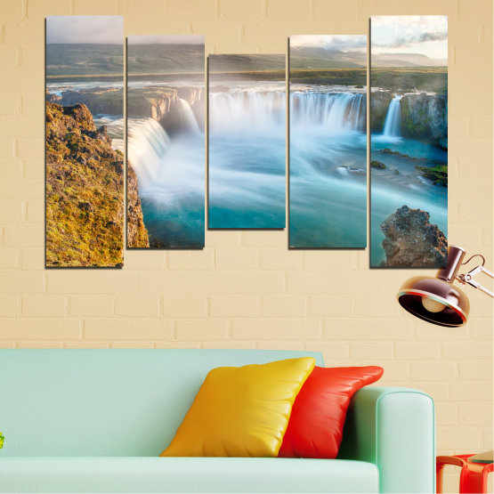 Canvas prints & wall decorative panels - 5 pieces №0147 » Gray, White, Dark grey » Nature, Waterfall, Water, Freshness Form #4