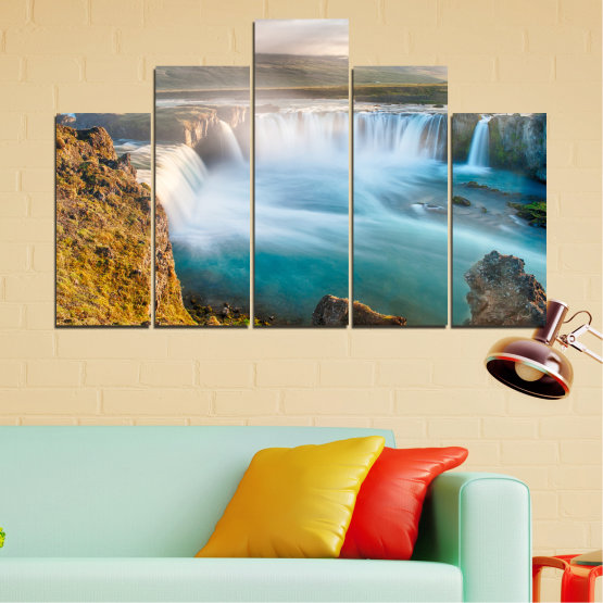 Canvas prints & wall decorative panels - 5 pieces №0147 » Gray, White, Dark grey » Nature, Waterfall, Water, Freshness Form #5