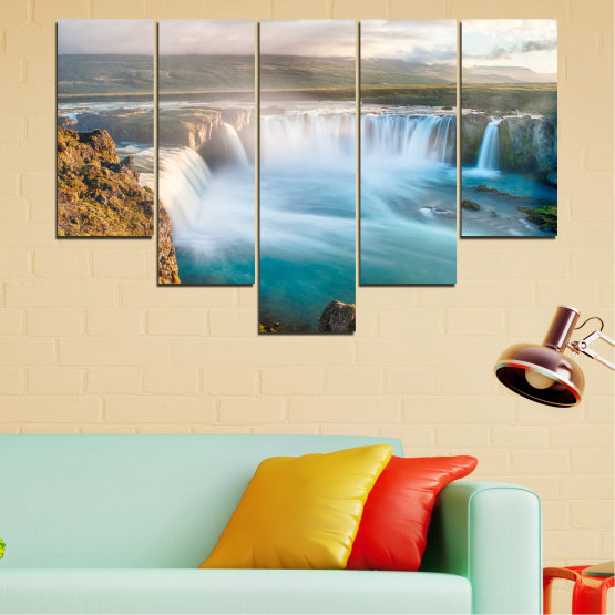 Canvas prints & wall decorative panels - 5 pieces №0147 » Gray, White, Dark grey » Nature, Waterfall, Water, Freshness Form #6