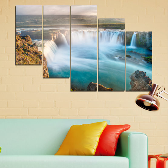 Canvas prints & wall decorative panels - 5 pieces №0147 » Gray, White, Dark grey » Nature, Waterfall, Water, Freshness Form #7