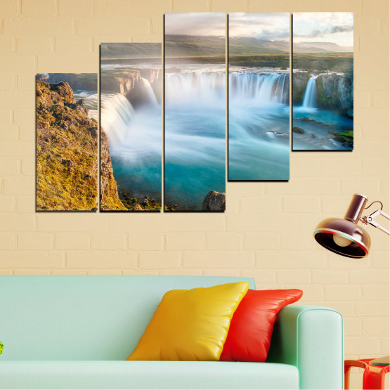 Canvas prints & wall decorative panels - 5 pieces №0147 » Gray, White, Dark grey » Nature, Waterfall, Water, Freshness Form #8