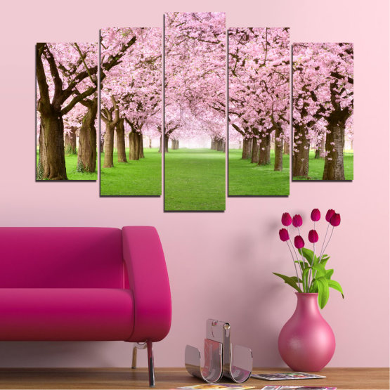 Canvas prints & wall decorative panels - 5 pieces №0148 » Green, Brown, Gray, Milky pink » Flowers, Freshness, Forest, Spring Form #1