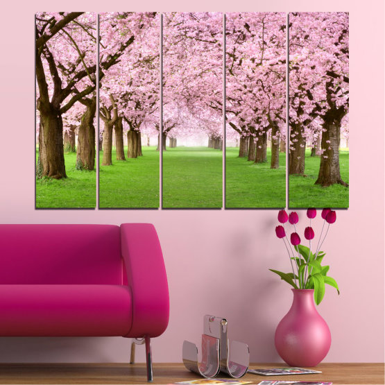 Canvas prints & wall decorative panels - 5 pieces №0148 » Green, Brown, Gray, Milky pink » Flowers, Freshness, Forest, Spring Form #2