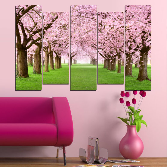 Canvas prints & wall decorative panels - 5 pieces №0148 » Green, Brown, Gray, Milky pink » Flowers, Freshness, Forest, Spring Form #3