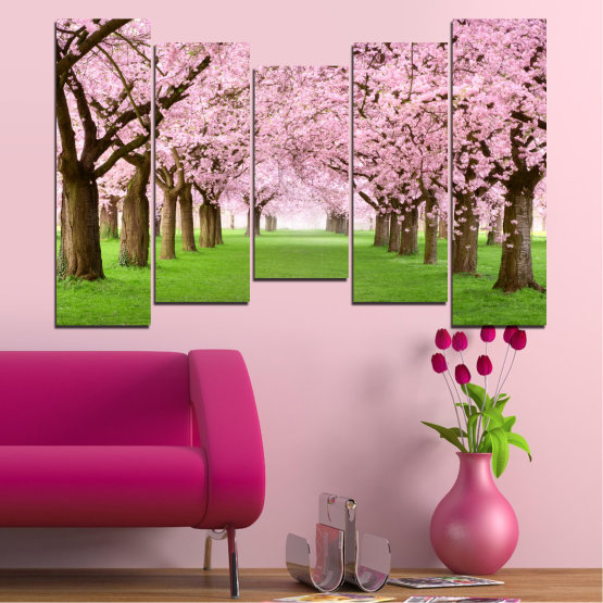 Canvas prints & wall decorative panels - 5 pieces №0148 » Green, Brown, Gray, Milky pink » Flowers, Freshness, Forest, Spring Form #4