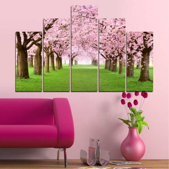 Canvas prints & wall decorative panels - 5 pieces №0148 » Green, Brown, Gray, Milky pink » Flowers, Freshness, Forest, Spring Form #5