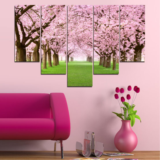 Canvas prints & wall decorative panels - 5 pieces №0148 » Green, Brown, Gray, Milky pink » Flowers, Freshness, Forest, Spring Form #6