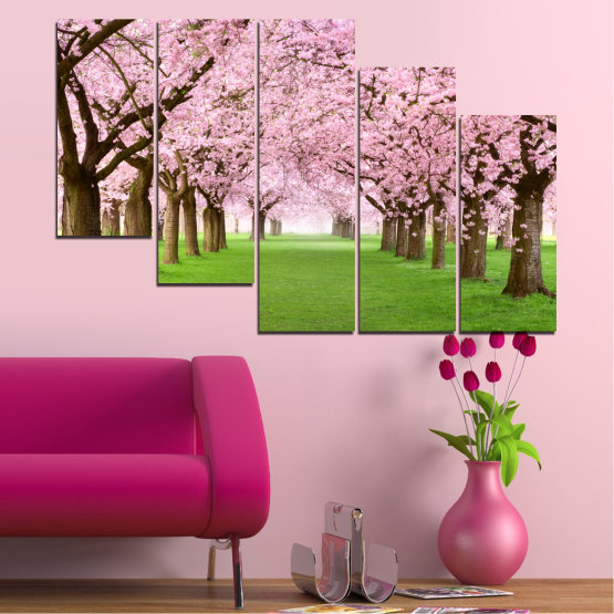 Canvas prints & wall decorative panels - 5 pieces №0148 » Green, Brown, Gray, Milky pink » Flowers, Freshness, Forest, Spring Form #7