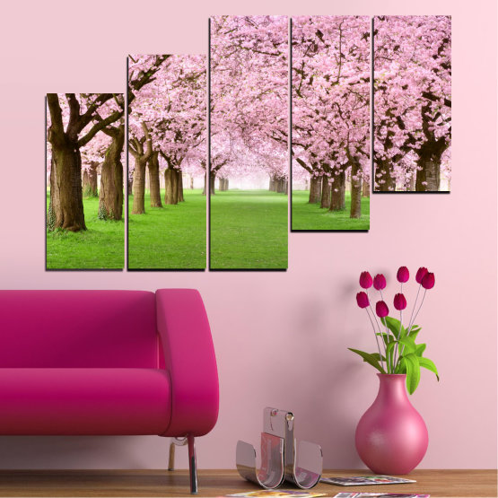 Canvas prints & wall decorative panels - 5 pieces №0148 » Green, Brown, Gray, Milky pink » Flowers, Freshness, Forest, Spring Form #8