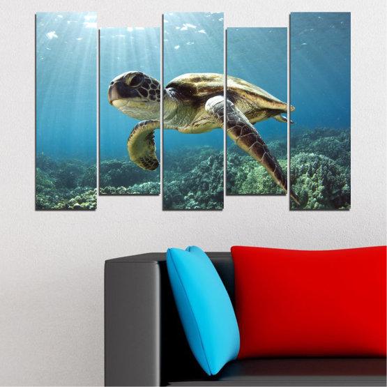 Декоративни панели и картини от канава - от 5 части №0149 » Син, Тюркоаз, Сив, Тъмно сив » Пейзаж, Море, Вода, Костенурка Form #3