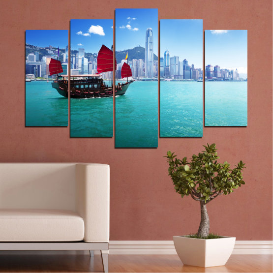 Canvas prints & wall decorative panels - 5 pieces №0150 » Blue, Turquoise, Gray, Dark grey » City, Water, Boat, Аsia, China Form #1
