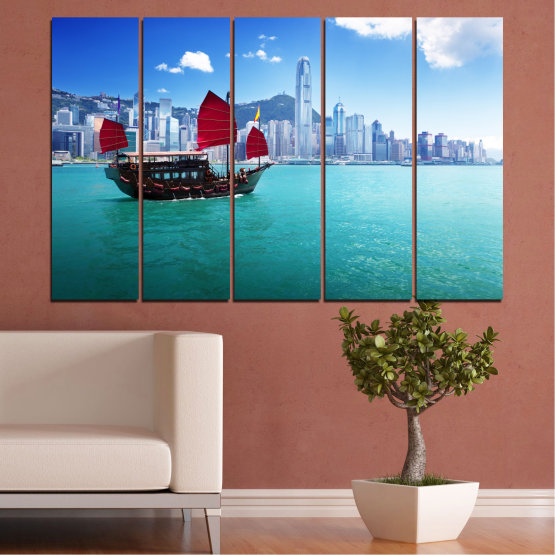 Canvas prints & wall decorative panels - 5 pieces №0150 » Blue, Turquoise, Gray, Dark grey » City, Water, Boat, Аsia, China Form #2