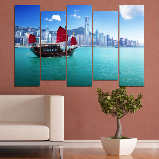 Canvas prints & wall decorative panels - 5 pieces №0150 » Blue, Turquoise, Gray, Dark grey » City, Water, Boat, Аsia, China Form #3