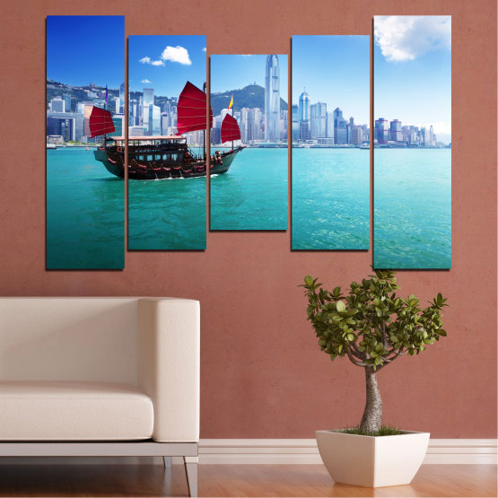 Canvas prints & wall decorative panels - 5 pieces №0150 » Blue, Turquoise, Gray, Dark grey » City, Water, Boat, Аsia, China Form #4