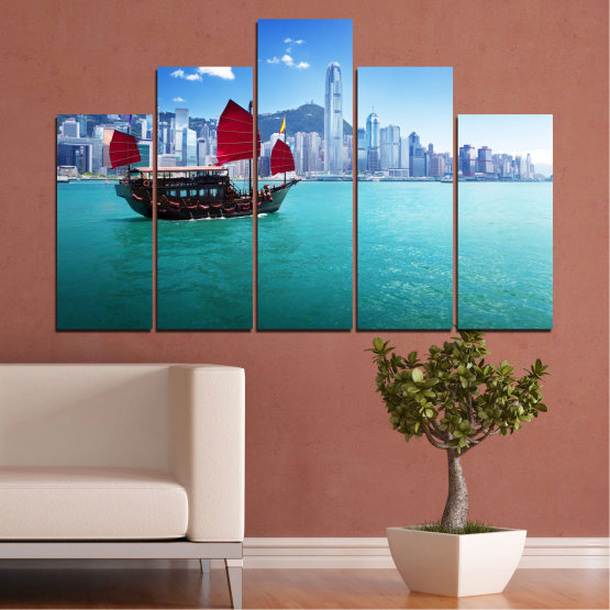 Canvas prints & wall decorative panels - 5 pieces №0150 » Blue, Turquoise, Gray, Dark grey » City, Water, Boat, Аsia, China Form #5