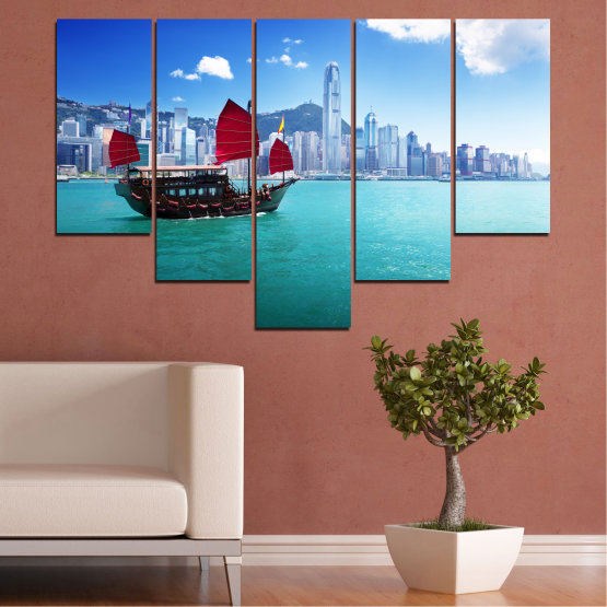 Canvas prints & wall decorative panels - 5 pieces №0150 » Blue, Turquoise, Gray, Dark grey » City, Water, Boat, Аsia, China Form #6