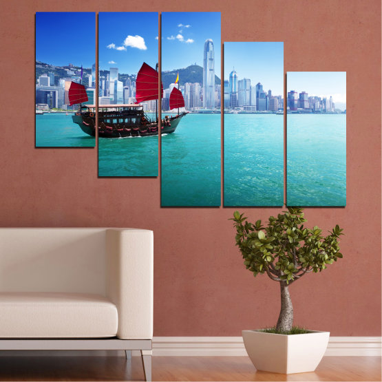 Canvas prints & wall decorative panels - 5 pieces №0150 » Blue, Turquoise, Gray, Dark grey » City, Water, Boat, Аsia, China Form #7