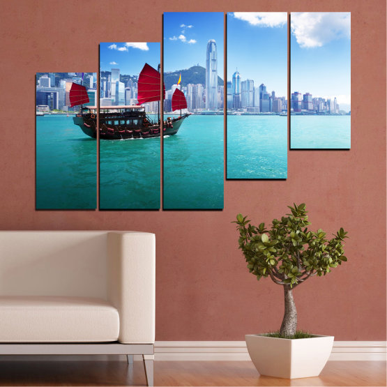 Canvas prints & wall decorative panels - 5 pieces №0150 » Blue, Turquoise, Gray, Dark grey » City, Water, Boat, Аsia, China Form #8