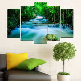 Nature, Forest, Waterfall, Freshness » Turquoise, Green, Black, Gray, Dark grey