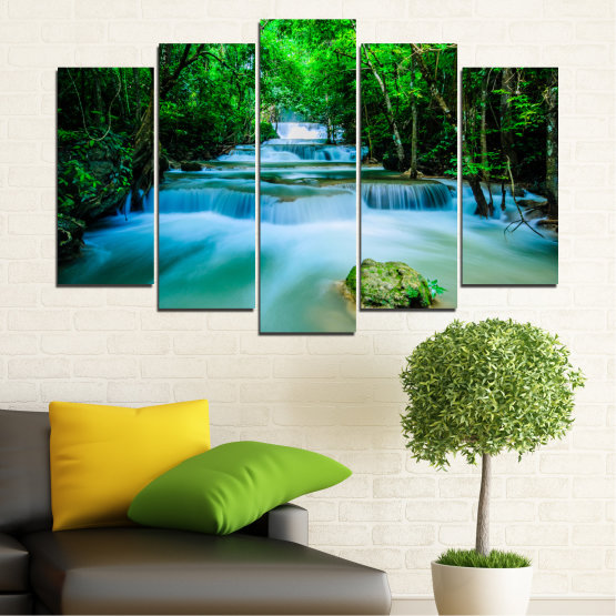 Canvas prints & wall decorative panels - 5 pieces №0151 » Turquoise, Green, Black, Gray, Dark grey » Nature, Waterfall, Forest, Freshness Form #1