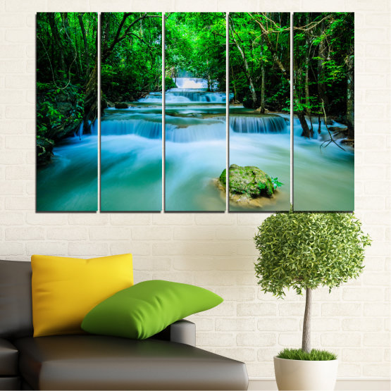 Canvas prints & wall decorative panels - 5 pieces №0151 » Turquoise, Green, Black, Gray, Dark grey » Nature, Waterfall, Forest, Freshness Form #2