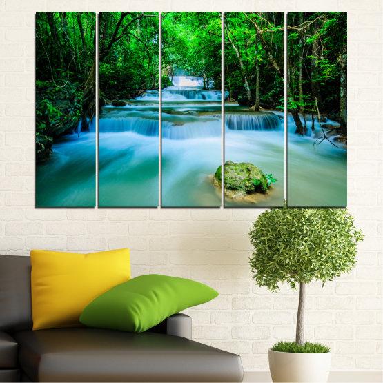 Декоративни панели и картини от канава - от 5 части №0151 » Тюркоаз, Зелен, Черен, Сив, Тъмно сив » Природа, Водопад, Свежест, Гора Form #2