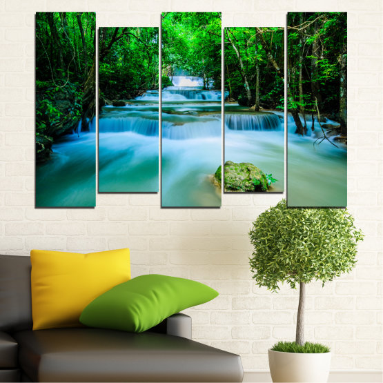 Canvas prints & wall decorative panels - 5 pieces №0151 » Turquoise, Green, Black, Gray, Dark grey » Nature, Waterfall, Forest, Freshness Form #3