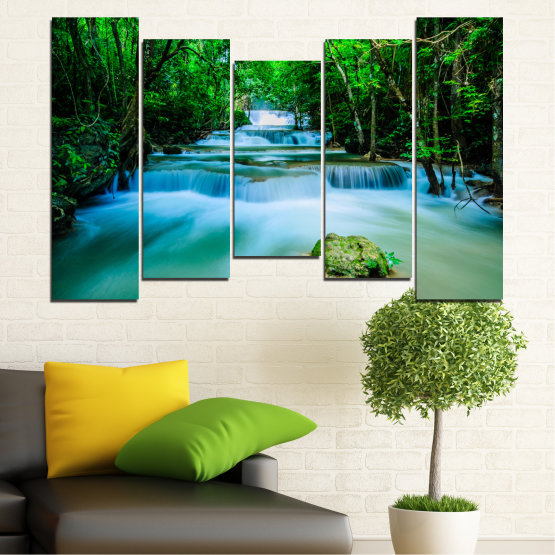 Canvas prints & wall decorative panels - 5 pieces №0151 » Turquoise, Green, Black, Gray, Dark grey » Nature, Waterfall, Forest, Freshness Form #4