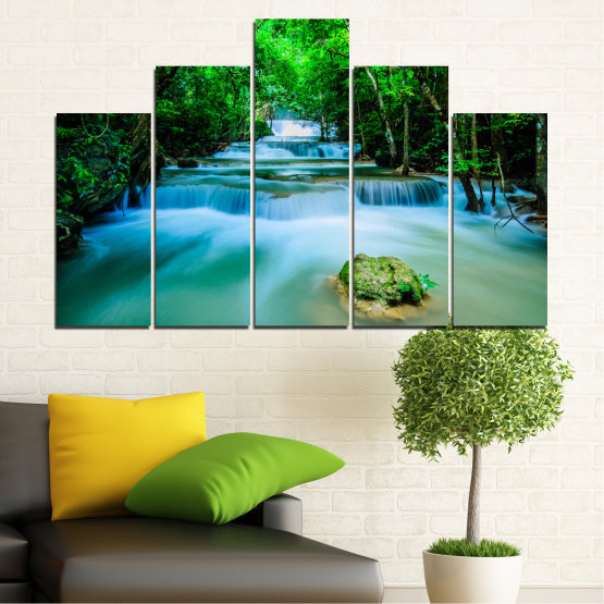 Canvas prints & wall decorative panels - 5 pieces №0151 » Turquoise, Green, Black, Gray, Dark grey » Nature, Waterfall, Forest, Freshness Form #5