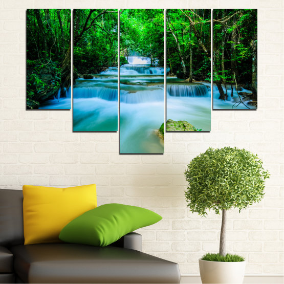 Декоративни панели и картини от канава - от 5 части №0151 » Тюркоаз, Зелен, Черен, Сив, Тъмно сив » Природа, Водопад, Гора, Свежест Form #6