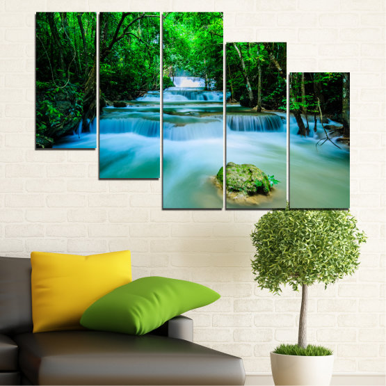 Canvas prints & wall decorative panels - 5 pieces №0151 » Turquoise, Green, Black, Gray, Dark grey » Nature, Waterfall, Forest, Freshness Form #7