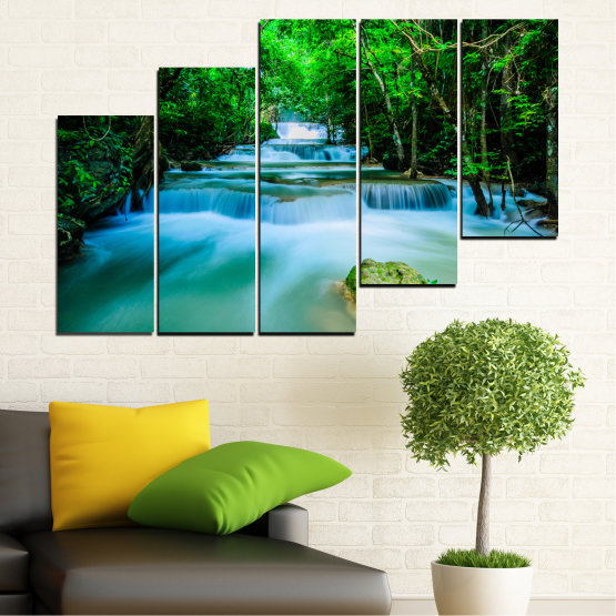 Canvas prints & wall decorative panels - 5 pieces №0151 » Turquoise, Green, Black, Gray, Dark grey » Nature, Waterfall, Forest, Freshness Form #8