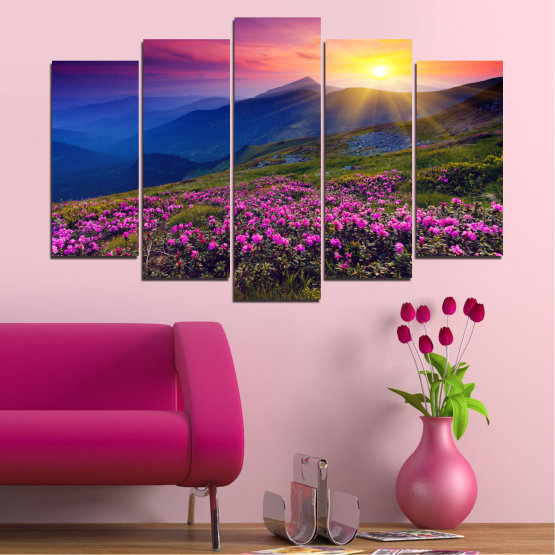 Canvas prints & wall decorative panels - 5 pieces №0152 » Pink, Purple, Blue, Yellow, Black, Dark grey » Flowers, Nature, Mountain, Sun, Sunrise, Field Form #1