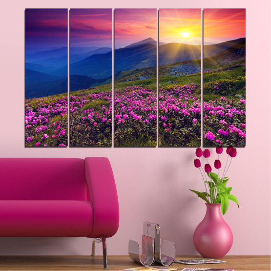 Canvas prints & wall decorative panels - 5 pieces №0152 » Pink, Purple, Blue, Yellow, Black, Dark grey » Flowers, Nature, Mountain, Sun, Sunrise, Field Form #2