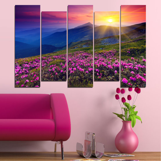 Canvas prints & wall decorative panels - 5 pieces №0152 » Pink, Purple, Blue, Yellow, Black, Dark grey » Flowers, Nature, Mountain, Sun, Sunrise, Field Form #3