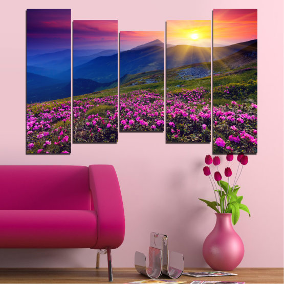 Canvas prints & wall decorative panels - 5 pieces №0152 » Pink, Purple, Blue, Yellow, Black, Dark grey » Flowers, Nature, Mountain, Sun, Sunrise, Field Form #4