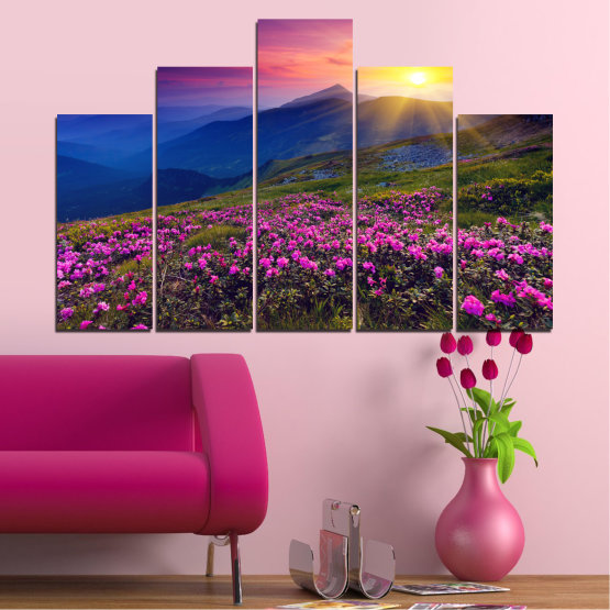 Canvas prints & wall decorative panels - 5 pieces №0152 » Pink, Purple, Blue, Yellow, Black, Dark grey » Flowers, Nature, Mountain, Sun, Sunrise, Field Form #5