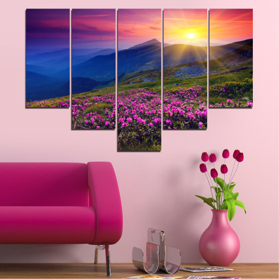 Canvas prints & wall decorative panels - 5 pieces №0152 » Pink, Purple, Blue, Yellow, Black, Dark grey » Flowers, Nature, Mountain, Sun, Sunrise, Field Form #6