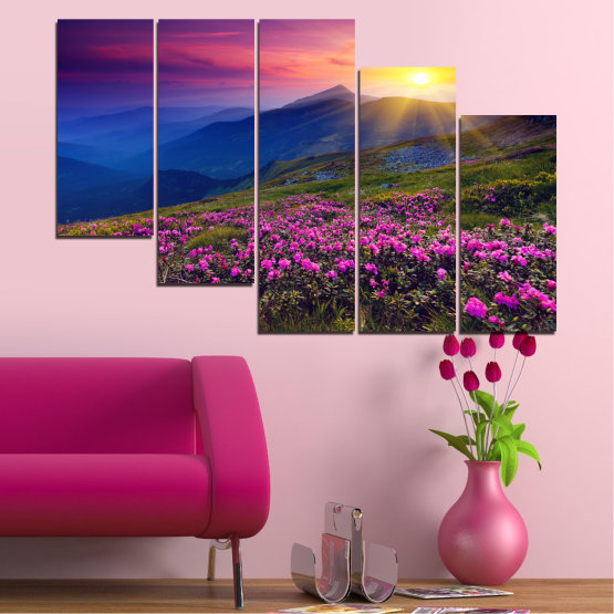 Canvas prints & wall decorative panels - 5 pieces №0152 » Pink, Purple, Blue, Yellow, Black, Dark grey » Flowers, Nature, Mountain, Sun, Sunrise, Field Form #7