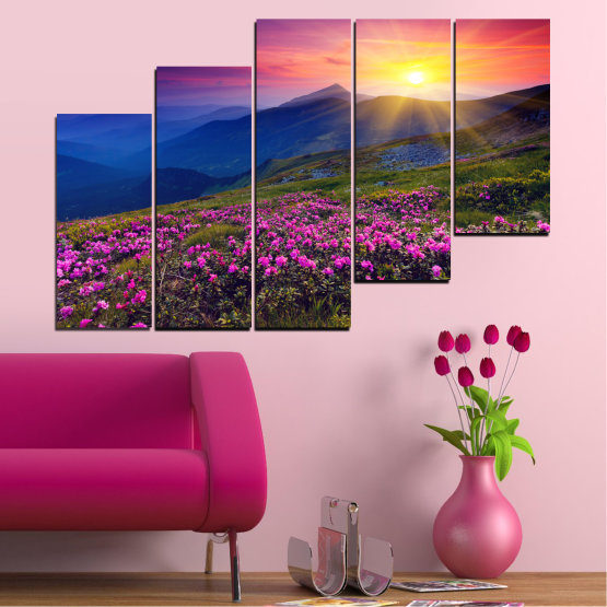 Canvas prints & wall decorative panels - 5 pieces №0152 » Pink, Purple, Blue, Yellow, Black, Dark grey » Flowers, Nature, Mountain, Sun, Sunrise, Field Form #8