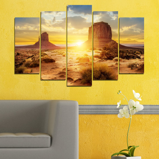 Canvas prints & wall decorative panels - 5 pieces №0154 » Blue, Yellow, Orange, Brown, Gray, Beige » Sun, Sunrise, Sand, Desert, Rocks Form #1