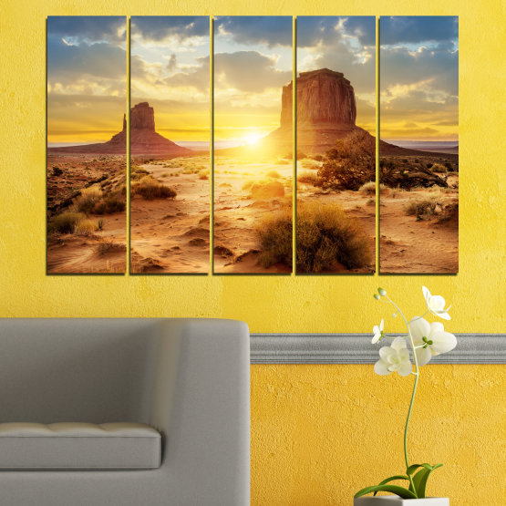 Canvas prints & wall decorative panels - 5 pieces №0154 » Blue, Yellow, Orange, Brown, Gray, Beige » Sun, Sunrise, Sand, Desert, Rocks Form #2