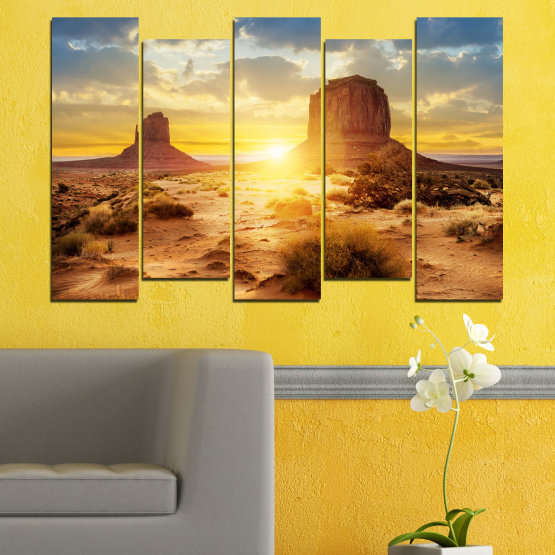 Canvas prints & wall decorative panels - 5 pieces №0154 » Blue, Yellow, Orange, Brown, Gray, Beige » Sun, Sunrise, Sand, Desert, Rocks Form #3